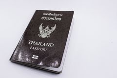 Thailand passport on white background. Cover of Thailand passport book on white background stock image