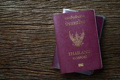 Thailand passport. On the wooden table royalty free stock photo