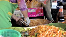 Thailand, Pattaya. Street food, noodles. stock video