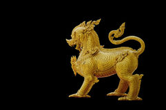 Thailand pattern on gold Lion statue Stock Image