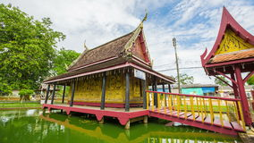 Thailand pavilion beautiful water collection recorded Buddhism. Wat ta gad gao Chanthaburi, Thailand stock video footage