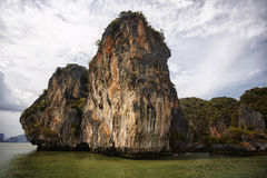 Thailand Phang Nga Bay. A huge rock in the tropical bay Stock Photo