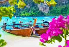 Thailand Phi Phi island beach bay with longtail boats and bloomi stock photos