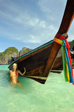 Thailand. Phi Phi Leh island. Girl at Maya bay Stock Photos