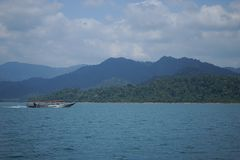 Thailand, Phuket, 2018 - Thailand boat on the lake Khao Sok,Beautiful scenery, the lakes of the mountains are very beautiful.  royalty free stock images