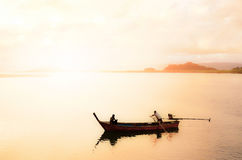 Thailand, Phuket, local fishing boat with Silhouette Royalty Free Stock Photography