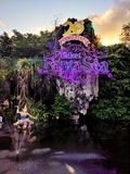 Thailand, Phuket - March 10, 2019: guided tour to FantaSea theme Park , entrance decorated with lights stock images