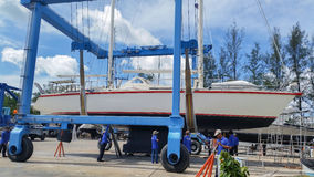 Thailand Phuket : 2016 May 23 ,yacht hauling out for repair at Phuket Boat Lagoon Marina in Thailand Royalty Free Stock Photography
