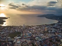 Thailand Phuket Patong bay sunset panorama aerial view royalty free stock photos