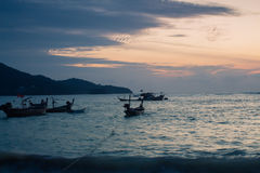 Thailand Phuket Sea Boat Sunset. Nai Yang Beach Stock Images