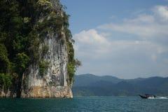Thailand, Phuket, 2018 - Thailand boat on the lake Khao Sok,Beautiful scenery, the lakes of the mountains are very beautiful.  royalty free stock photo