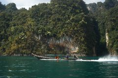 Thailand, Phuket, 2018 - Thailand boat on the lake Khao Sok,Beautiful scenery, the lakes of the mountains are very beautiful.  royalty free stock image