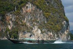 Thailand, Phuket, 2018 - Thailand boat on the lake Khao Sok,Beautiful scenery, the lakes of the mountains are very beautiful.  royalty free stock photos