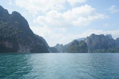 Thailand, Phuket, 2018 - Thailand boat on the lake Khao Sok,Beautiful scenery, the lakes of the mountains are very beautiful.  stock photography