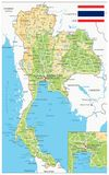 Thailand Physical Map. – highly detailed vector illustration. Image contains layers with shaded contours, land names, city names, water objects and it`s names Stock Images