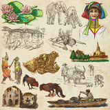 Thailand. Pictures of Life. Freehands. Travel series, Kingdom of THAILAND - Pictures of Life. Collection of an hand drawn illustrations. Description, Full sized Stock Photo