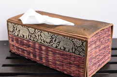 Thailand plattern tissue paper box. A box of tissue paper made by silk royalty free stock images