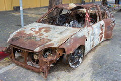 Thailand police cars were destroyed. By protesters Stock Image