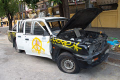 Thailand police cars were destroyed Royalty Free Stock Images