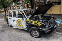Thailand police cars were destroyed Royalty Free Stock Image