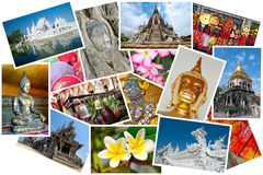 Thailand postcard montage. Montage of images taken in Thailand in postcard form Stock Photo