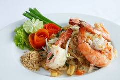 Thailand rühren-briet Reisnudeln (die Auflage siamesisch) lizenzfreies stockbild