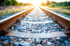 Thailand Rail road track. Thailand Rail road track in during sunset stock image