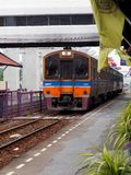 THAILAND railroad railway vintage retro long distance diesel wagon and locomotive in BANGKOK. As main transportation for urban living, October 10, 2016 royalty free stock image