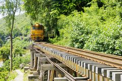 Stock Photo - train is running on the bridge. Thailand Railway train special river Kwai bridge Royalty Free Stock Images