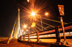 Thailand Rama 8 rope bridge night scape. Side the river Royalty Free Stock Photography