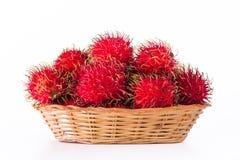 Thailand rambutan fruit. Fresh rambutan in basket on white background Royalty Free Stock Photography