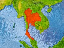 Map of Thailand. Thailand in red on realistic map with embossed countries. 3D illustration. Elements of this image furnished by NASA royalty free stock photos