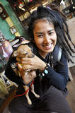 Thailand Reggae Women Carry Small Chihuahua Stock Photo