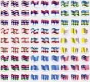 Thailand, Republika Srpska, Rwanda, Lebanon, Mari El, Vatican CityHoly See, Gambia, Somalia, Malaysia. Big set of 81 flags. Royalty Free Stock Photos