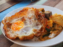 Thailand Rice. Rice with fried egg and eating in restaurants Thailand Royalty Free Stock Photos