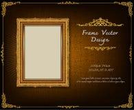 Thailand Royal gold frame on drake pattern background, Vintage photo frame antique,  design pattern. Thailand Royal gold frame on drake pattern background Stock Photos