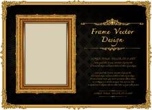 Thailand Royal gold frame on drake pattern background, Vintage photo frame antique,  design pattern. Thailand Royal gold frame on drake pattern background Stock Images