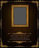 Thailand Royal gold frame on drake pattern background, Vintage photo frame antique,  design pattern. Thailand Royal gold frame on drake pattern background Royalty Free Stock Photo