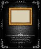 Thailand Royal gold frame on drake pattern background, Vintage photo frame antique,  design pattern. Thailand Royal gold frame on drake pattern background Royalty Free Stock Photography
