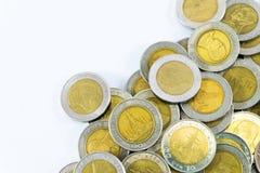 Thailand-` s Baht Münze 10 auf weißem Hintergrund Stockfoto
