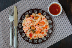 Thailand's dish, stir-fried rice with shrimp and mussel Royalty Free Stock Photography
