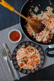 Thailand's dish, stir-fried rice with shrimp and mussel Stock Image