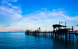Thailand's fishing pier. The fishing pier in Koh Samet of Thailand is very romantic place for travellers Stock Photos