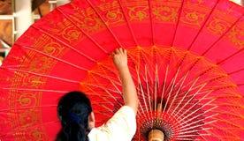 Thailand's handcraft, traditional art making umbrella Royalty Free Stock Photos