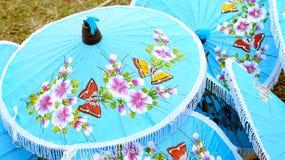 Thailand's handcraft, traditional art making umbrella Stock Images