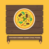Thailand's national dishes,Chicken green curry - Vector flat design Stock Images