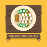 Thailand's national dishes,Fresh spring rolls - Vector flat design Stock Photography