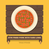 Thailand's national dishes,Stir fried Pork with Yard Long Bean Stock Images
