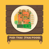 Thailand's national dishes,Thai noodles (Pad Thai) - Vector flat Stock Photo