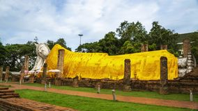 Thailand`s tourist attraction, the Buddha statue is in a reclining position, is the largest in the open air, located at Khun Intha